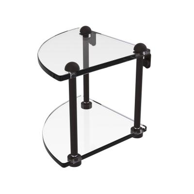 8 in. 2-Tier Corner Glass Shelf in Oil Rubbed Bronze