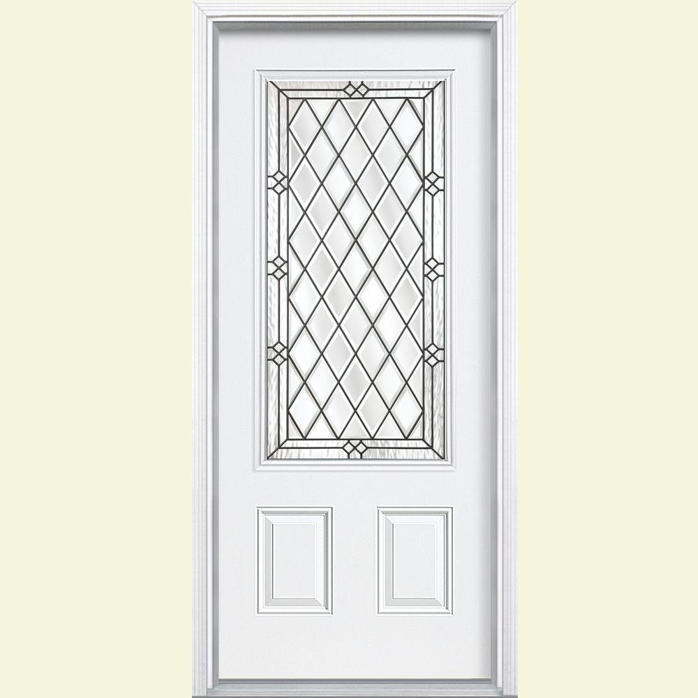 Masonite 36 in. x 80 in. Halifax 3/4 Rectangle Left-Hand Inswing Primed Steel Prehung Front Door with Brickmould, Vinyl Frame
