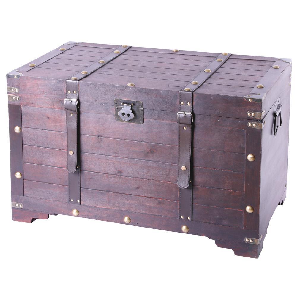 Antique Cherry Large Wooden Storage Trunk