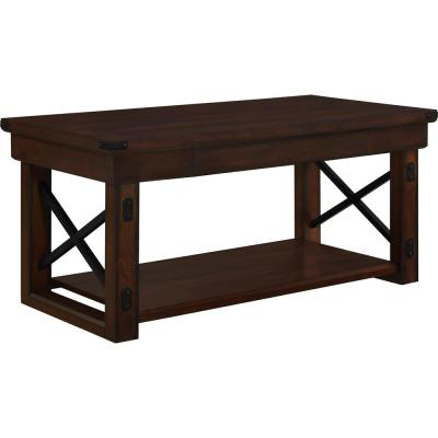 Forest Grove 22 in. Espresso Medium Rectangle Wood Coffee Table with Shelf