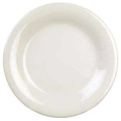 Coleur 9-1/4 in. Wide Rim Plate in Ivory (12-Piece)