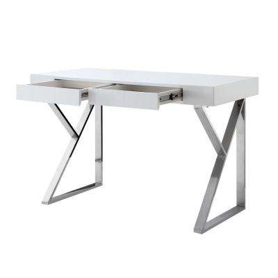 Biaochi White/Chrome Desk with 2-Drawers