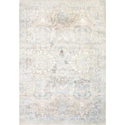 Valley Blue/Beige 5 ft. 3 in. x 7 ft. 7 in. Traditional Viscose Area Rug