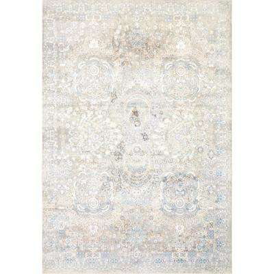 Valley Blue/Beige 6 ft. 7 in. x 9 ft. 6 in. Traditional Viscose Area Rug