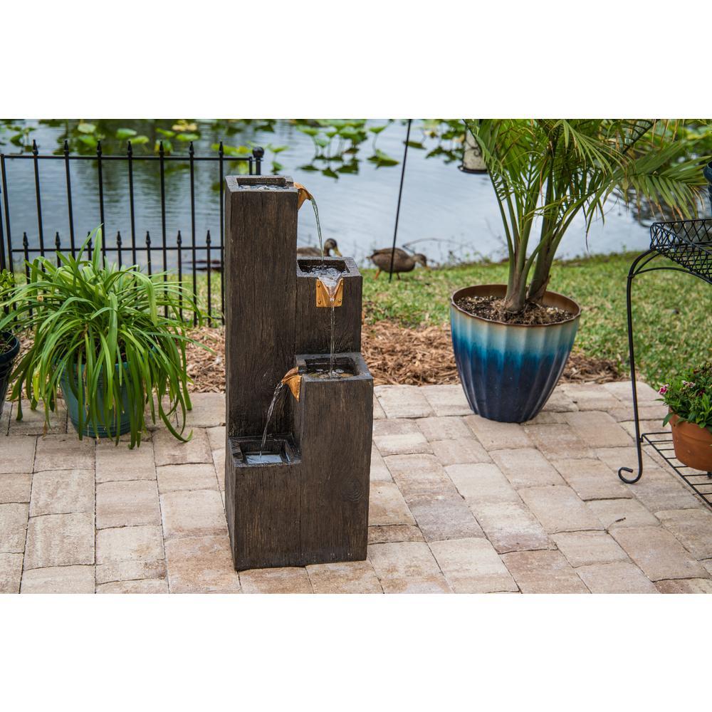 Lincoln Resin Wood Grain Indoor/Outdoor Floor Fountain