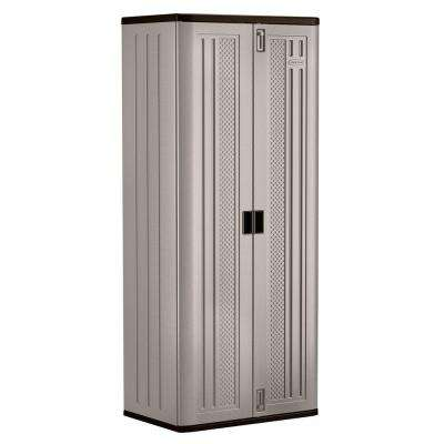 30 in. x 72 in. 3-Shelf Resin Tall Storage Cabinet in Platinum