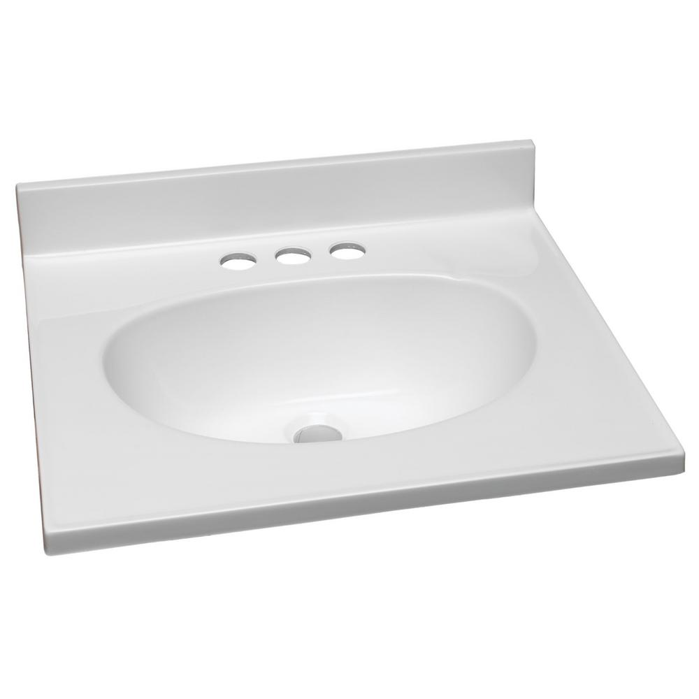 W Cultured Marble Vanity Top In White With Solid Bowl