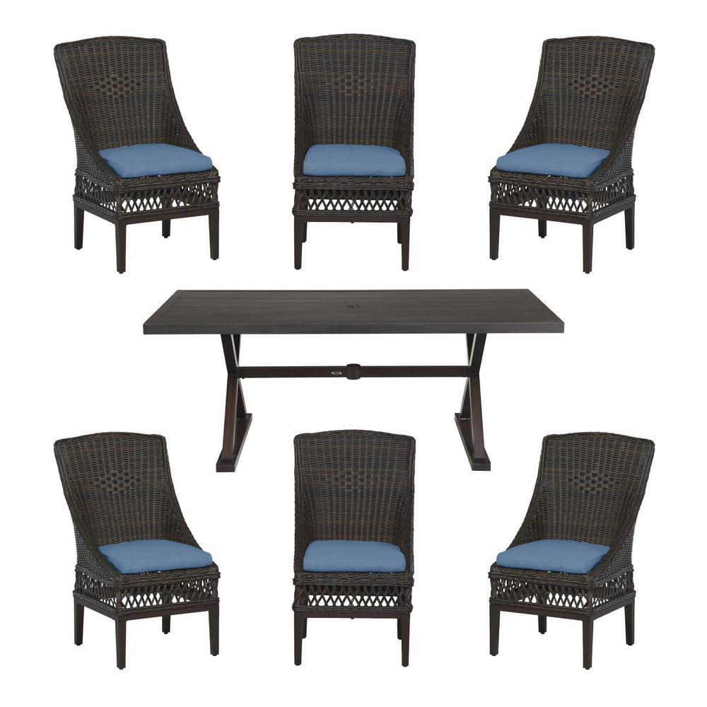 Woodbury Dark Brown 7-Piece Wicker Outdoor Patio Dining Set with CushionGuard Sky Blue Cushions