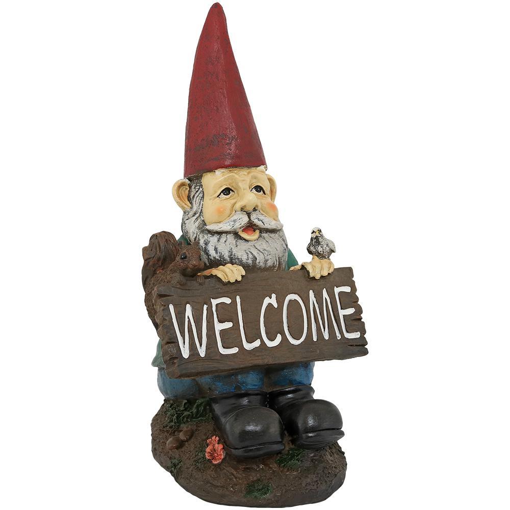Sunnydaze Decor 14 In. William The Welcome Gnome Garden Statue