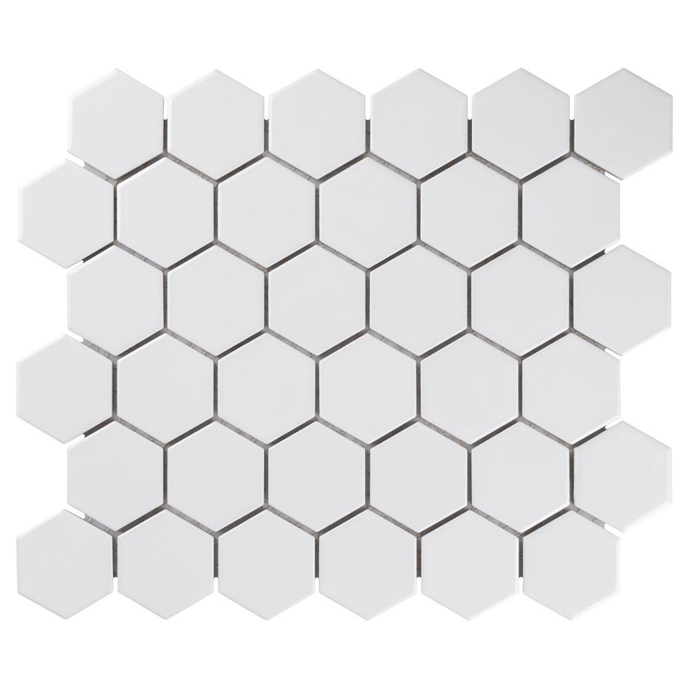 "Merola Tile Metro Hex 2"" Glossy 11-1/8""x12-5/8"" White Porcelain Mosaic (9.64 sq.ft. /Case)"