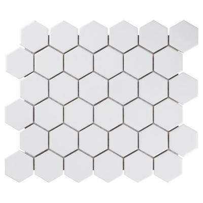 "Metro Hex 2"" Glossy 11-1/8""x12-5/8"" White Porcelain Mosaic (9.64 sq.ft. /Case)"