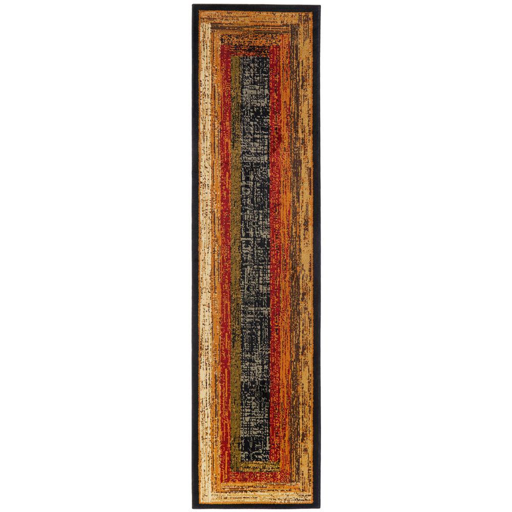 Royalty Black 2 ft. x 7 ft. Indoor Area Rug