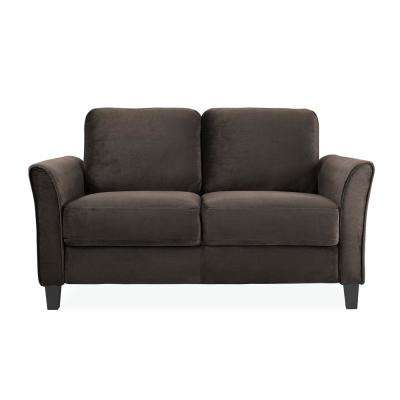 Wesley Microfiber Loveseat with Curved Arms in Coffee