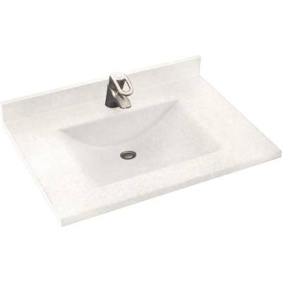 Freedomline 37 in. W x 22 in. D Solid Surface Pocket Vanity Top Kit with Sink in Tahiti Ivory