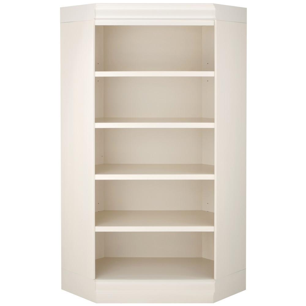Louis Philippe Modular Polar White Corner Open Bookcase