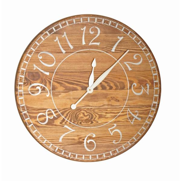 24 in. Oversized Brown Farmhouse Wall Clock
