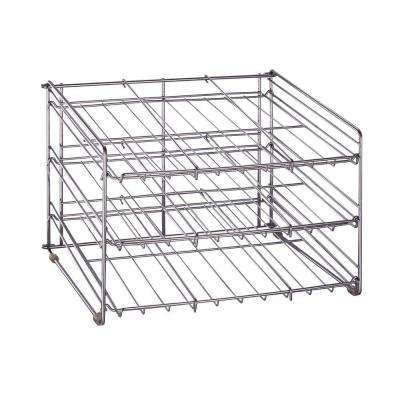 15.87 in. x 18 in. x 12.75 in. Chrome Wire Can Storage Rack