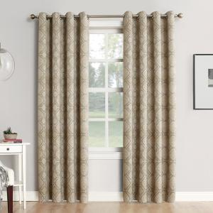 Sun Zero Neema Woven Home Theater Grade Blackout Camel Grommet Single Curtain Panel - 52... by Sun Zero