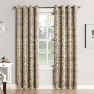 Neema Woven Home Theater Grade Blackout Camel Grommet Single Curtain Panel - 52 in. W x 84 in. L