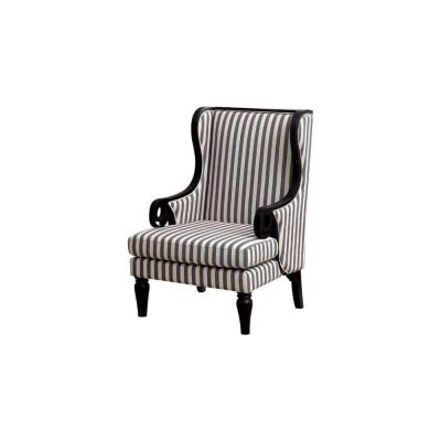 Riviera Black Leg Transitional Wing Accent Chair with Line Fabric