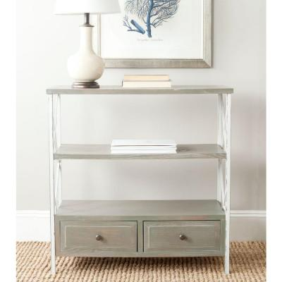 Chandra French Gray and White Storage Console Table