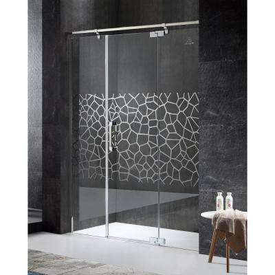 Grove Series Right Side 63 in. x 78.74 in. Semi-Frameless Hinged Shower Door in Chrome with Handle