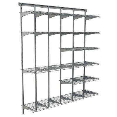Max Load Garage 6 ft. x 16 in. Satin Chrome Ventilated Wire Shelf System