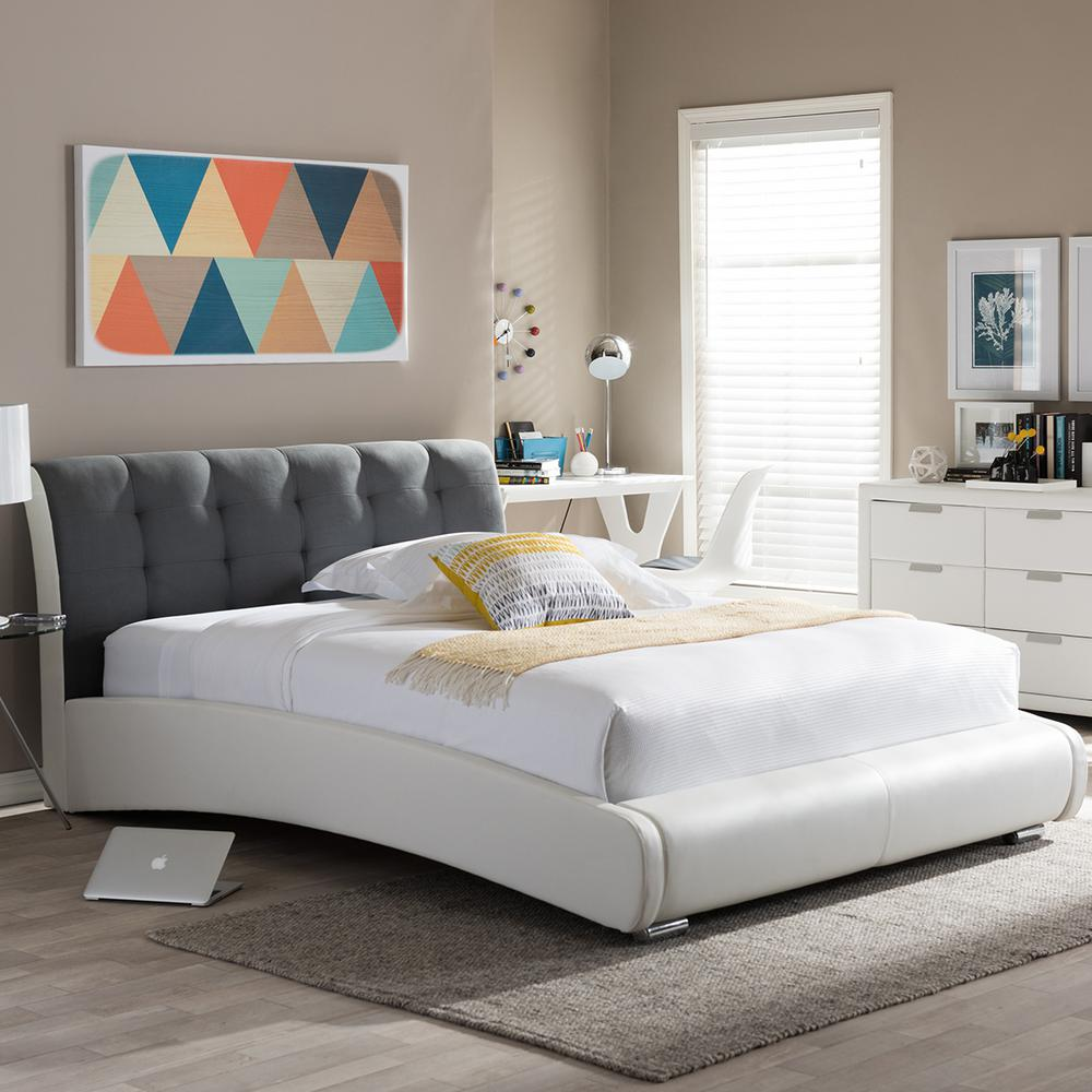 Baxton studio guerin modern white faux leather upholstered queen size bed