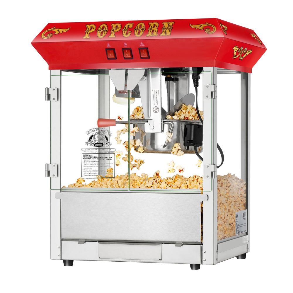 8 oz. Hot and Fresh Red Countertop Style Popcorn Popper