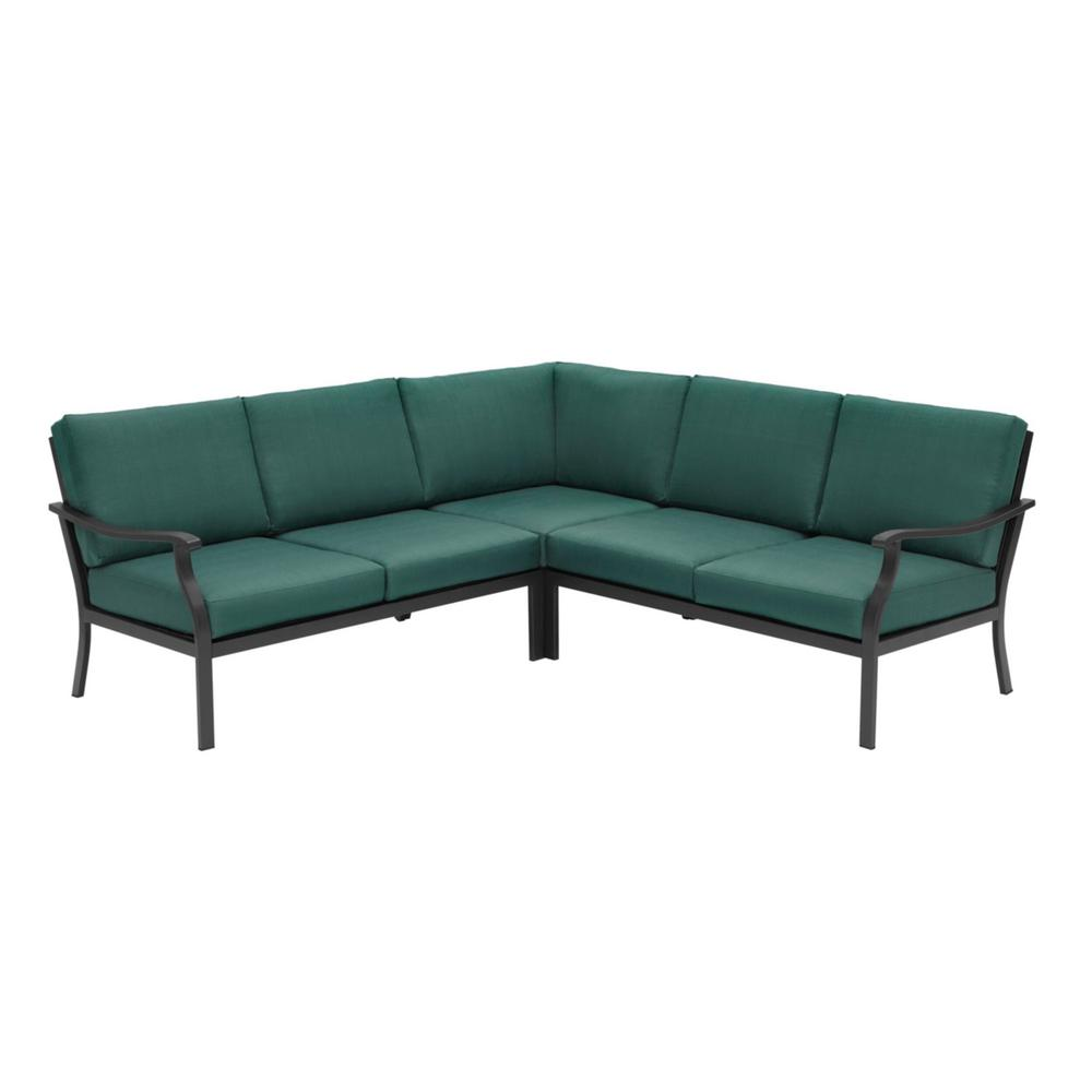 Hampton Bay Riley 3-Piece Black Steel Outdoor Patio Sectional Sofa with Standard Charleston Blue-Green Cushions was $899.0 now $499.0 (44.0% off)