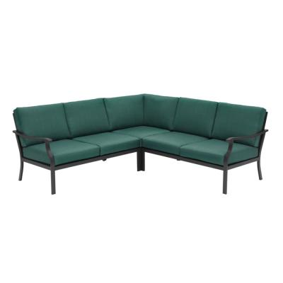 Riley 3-Piece Black Steel Outdoor Patio Sectional Sofa with Standard Charleston Blue-Green Cushions