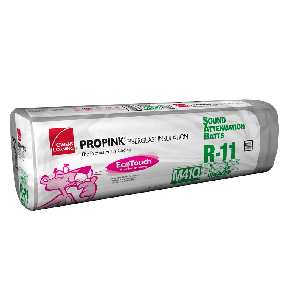 R-11 EcoTouch PINK Unfaced Fiberglass Sound Attenuation Insulation Batt 16 in.