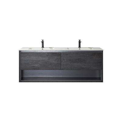 Perma 63 in. W x 21 in. D Bath Vanity in Elegant Grey with Vanity Top in White with White Acrylic Basin