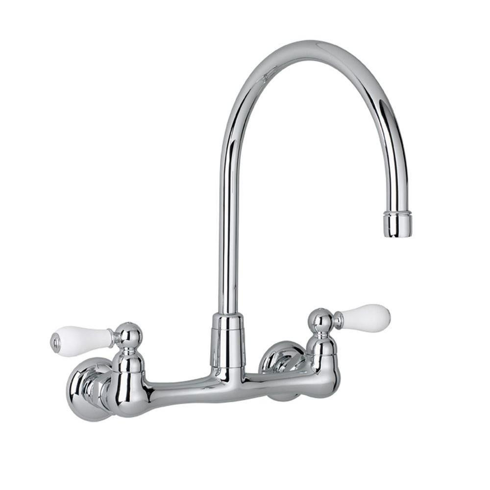 Heritage 2-Handle Wall-Mount Kitchen Faucet in Polished Chrome with Gooseneck