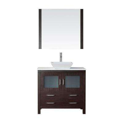 Dior 37 in. W Bath Vanity in Espresso with Stone Vanity Top in White with Square Basin and Mirror and Faucet