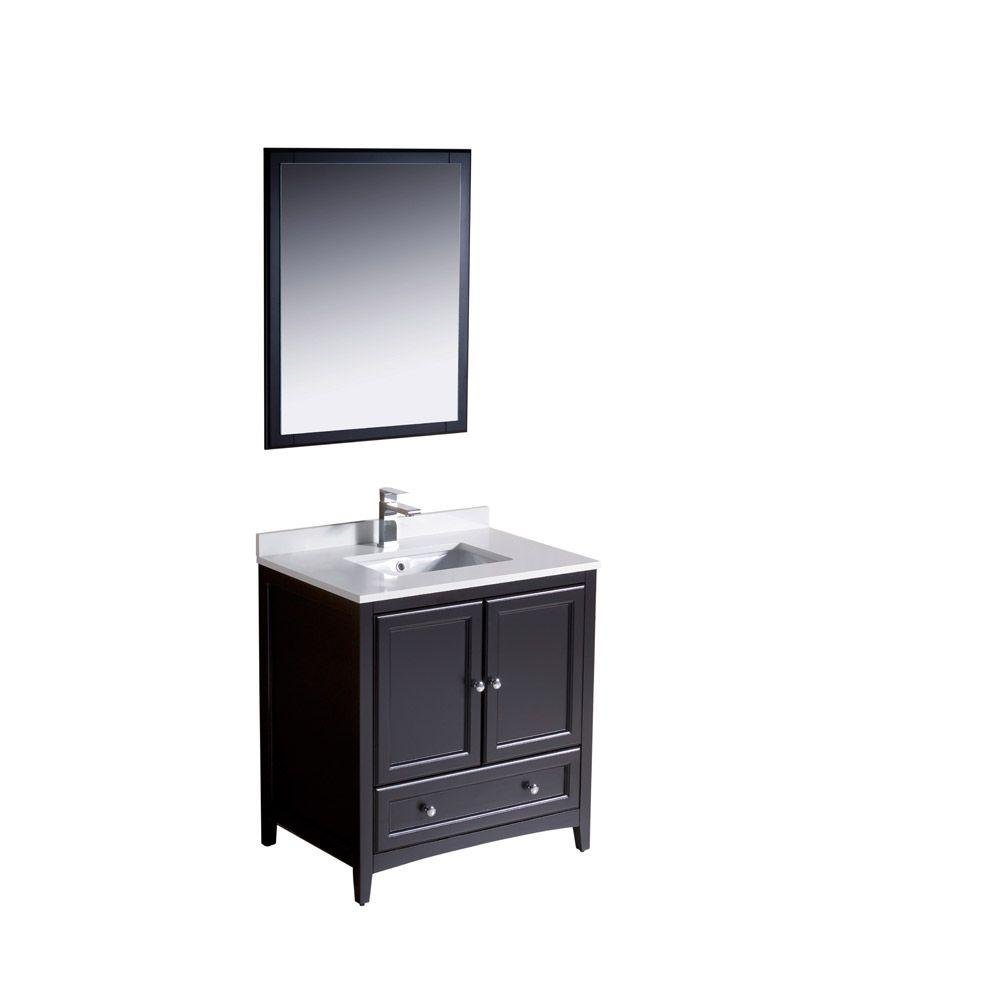 fresca oxford 30 in vanity in espresso with ceramic vanity top in white with white basin and. Black Bedroom Furniture Sets. Home Design Ideas