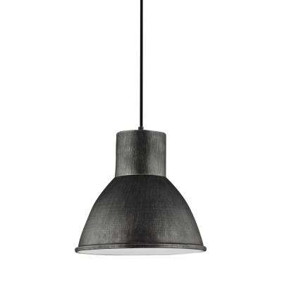 Division Street 15 in. W. 1-Light Weathered Gray Integrated LED Pendant