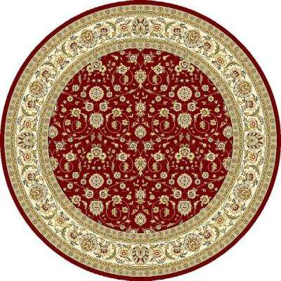 Lyndhurst Red/Ivory 8 Ft. X 8 Ft. Round Area Rug. Red/Ivory; Light  Blue/Ivory