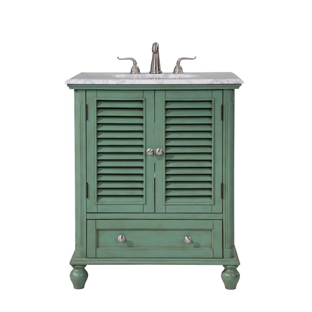 Urich 30 in. Single Bath Vanity w/ 1 Drawer 2 Doors; Marble Top; Porcelain Sink; Vintage Mint