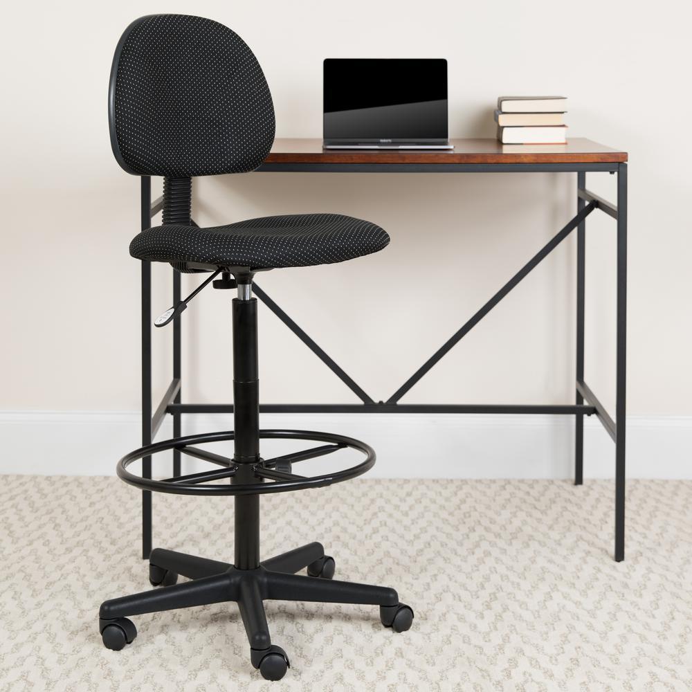 Excellent Flash Furniture Black Patterned Fabric Ergonomic Drafting Uwap Interior Chair Design Uwaporg