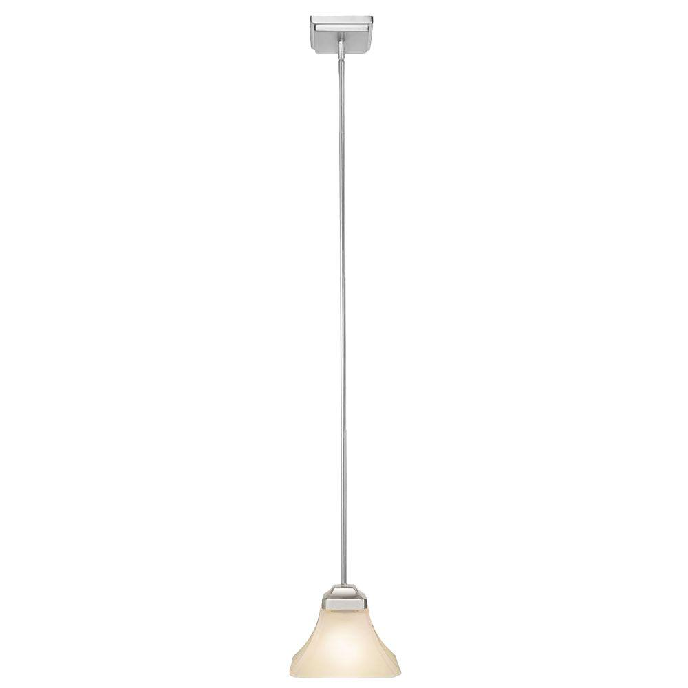 Hampton Bay Nove 1-Light Brushed Nickel Mini Pendant with White Glass Shade