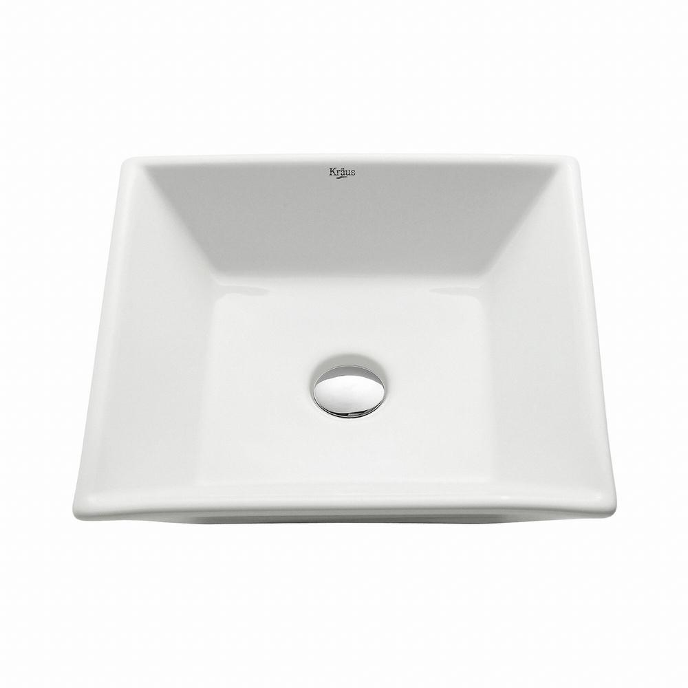 Kraus flat square ceramic vessel bathroom sink in white for Flat bathroom sinks