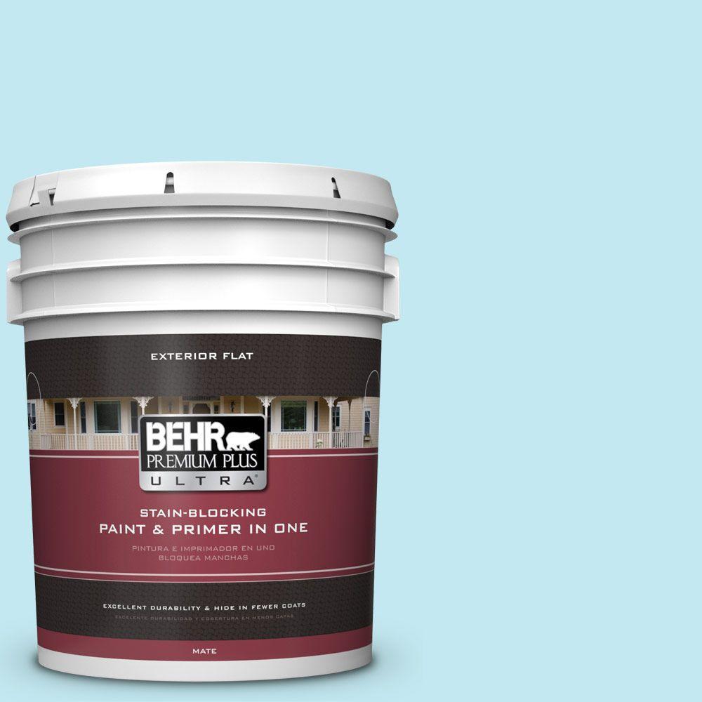 BEHR Premium Plus Ultra 5-gal. #P480-1 Niagara Mist Flat Exterior Paint