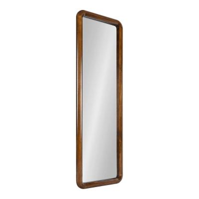 Pao 48 in. x 16 in. Classic Rectangle Framed Walnut Brown Wall Accent Mirror