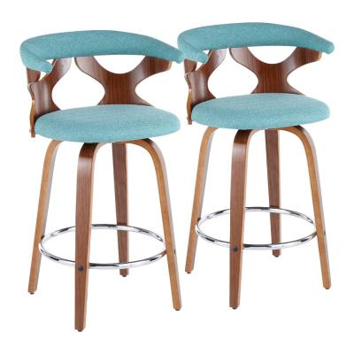Gardenia Mid-Century Modern Walnut and Teal Counter Stool (Set of 2)
