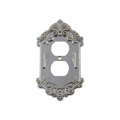 Victorian Switch Plate with Outlet in Bright Chrome