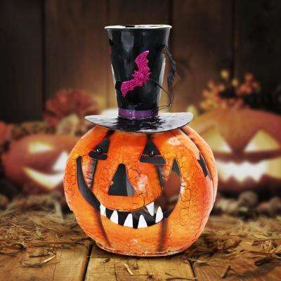 16 in. Metal Pumpkin with Top Hat Candle Holder