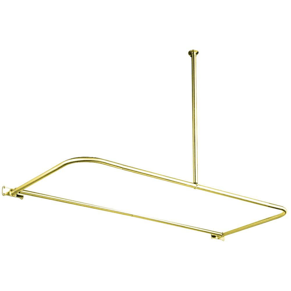 D Shower Rod In Polished Brass
