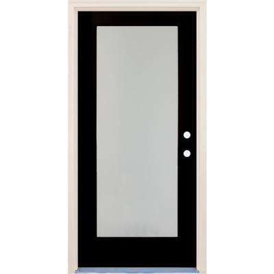36 in. x 80 in. Elite Inkwell Left-Hand Full Lite Satin Etch Glass Contemporary Painted Fiberglass Prehung Front Door