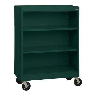Radius Edge Forest Green Mobile Steel Bookcase